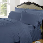 Highams 100% Egyptian Cotton Plain Dyed Bedding Set - Steel Blue