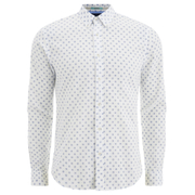 Scotch & Soda Men's Patterned Long Sleeved Shirt - White
