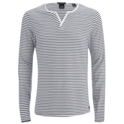 Scotch & Soda Men's Long Sleeved Grandad T-Shirt - Grey Melange