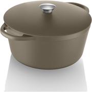 Tower IDT90002 Cast Iron Round Casserole Dish - Latte - 26cm