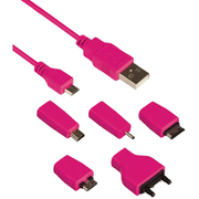Kit Universal Charge & Data Transfer Cable with 5 Tips - Pink