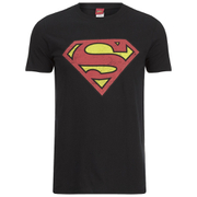 DC Comics Men's Superman Distress Logo T-Shirt - Black