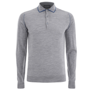 John Smedley Men's Lismore Merino Long Sleeve Polo Shirt - Silver