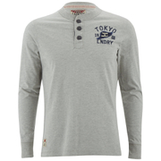 Tokyo Laundry Men's Arturo Button Long Sleeve Top - Light Grey Marl