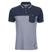 Brave Soul Men's Othello Panel Polo Shirt - China Blue