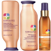 Pureology Precious Oil Shampoo, Conditioner (250ml) and Satin Soft Oil (125ml)