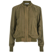 T by Alexander Wang Women's Washed Viscose Twill Bomber Jacket - Fatigue