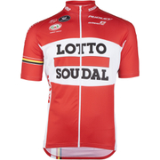 Lotto Soudal Short Sleeve Long Zip Jersey 2016 - Red/White