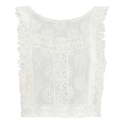 "MINKPINK Women's ""Wild Traveller"" Lace Crop Top With Crochet Trims - Off White"