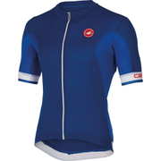 Castelli Volata Full Zip Short Sleeve Jersey - Blue/White
