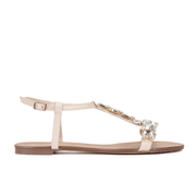 Dune Women's Nakeeta Embellished Leather T Bar Sandals - Nude