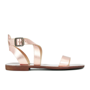 Dune Women's Lotti Leather Flat Sandals - Rose Gold