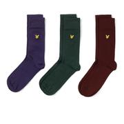 Lyle & Scott Men's 3 Pack Socks - Purple/Green/Burgundy