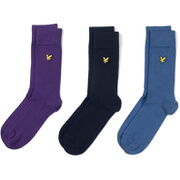 Lyle & Scott Men's 3 Pack Socks - Purple/Navy/Blue