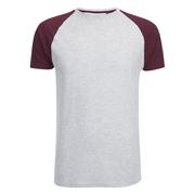 Brave Soul Men's Baptist Raglan Sleeve T-Shirt - Ecru/Burgundy