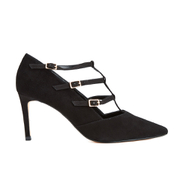 Dune Women's Carbon T Bar Suede Court Shoes - Black