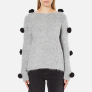 MSGM Women's Pom Pom Brushed Mohair Jumper - Grey