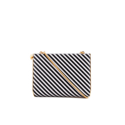 Lulu Guinness Women's Karlie Leather Striped Clutch with Lip Closure - Black/White