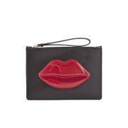 Lulu Guinness Women's Grace Medium Lips Clutch - Black/Red