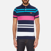 Superdry Men's College Stripe Polo Shirt - Washed Rich Navy/Optic