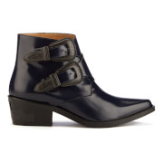 Toga Pulla Women's Buckle Leather Heeled Ankle Boots - Navy Polido