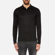 HUGO Men's Delato Long Sleeve Mercerised Polo Shirt - Black