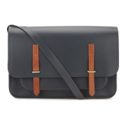 The Cambridge Satchel Company Men's Bridge Closure Bag - Navy/Tan