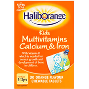 Haliborange Kids Multivitamins, Calcium & Iron - 30 Orange Flavour Chewable Tablets