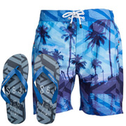 Smith & Jones Men's Onshore Swim Shorts & Flip Flops - Victoria Blue