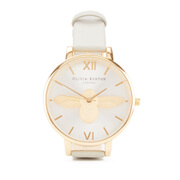 Olivia Burton Women's Animal Motif Moulded Bee Watch - Grey Gold Silver