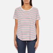 Maison Scotch Women's Basic Short Sleeve T-Shirt With Longer Back - Multi