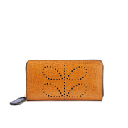 Orla Kiely Women's Big Zip Leather Wallet - Tan