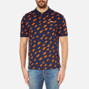 Lacoste L!ve Men's Printed Short Sleeve Polo Shirt - Navy Blue/Cantaloupe
