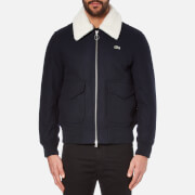 Lacoste L!ve Men's Teddy Jacket with Shearling Collar - Navy Blue