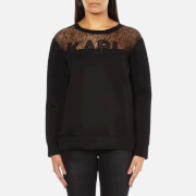 Karl Lagerfeld Women's Karl Lace & Neoprene Sweatshirt - Black
