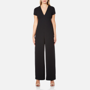 T by Alexander Wang Women's Poly Crepe Open Back Pantromper Jumpsuit - Black