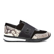 MICHAEL MICHAEL KORS Women's MK Embossed Snake Trainers - Natural