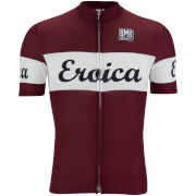 Santini L'Eroica Vino 2016 Event Series Polyester Print Short Sleeve Jersey - Dark Red