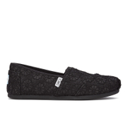 TOMS Women's Seasonal Classics Slip-On Pumps - Black Crochet Glitter