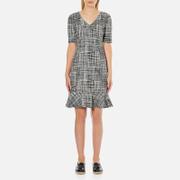Boutique Moschino Women's Tweed Print Short Sleeve Peplum Dress - Black