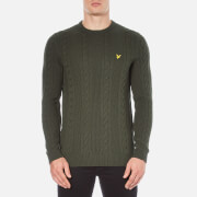 Lyle & Scott Men's Crew Neck Cable Knit Jumper - Dark Sage