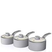 Swan Retro Saucepan Set - Grey (3 Piece)
