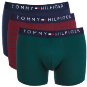 Tommy Hilfiger Men's Icon Mono 3 Pack Trunks - Rhubarb/Peacoat/Ponderosa