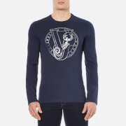 Versace Jeans Men's Printed Crew Neck Long Sleeve Top - Blue