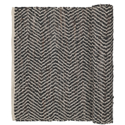 Broste Copenhagen ZigZag Leather and Cotton Rug - Chocolate