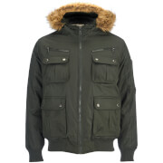 Brave Soul Men's Knight Faux Fur Trim Hooded Bomber Jacket - Dark Olive