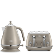 De'Longhi Elements Kettle and Four Slice Toaster - Beige