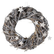 Bark & Blossom Assorted Stars Wreath - Silver