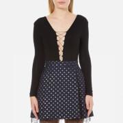 T by Alexander Wang Women's Modal Lace Up Long Sleeve Bodysuit - Black