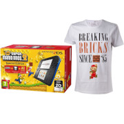 Nintendo 2DS Blue/Black + New Super Mario Bros 2 + Mario Breaking Bricks T-Shirt (L)